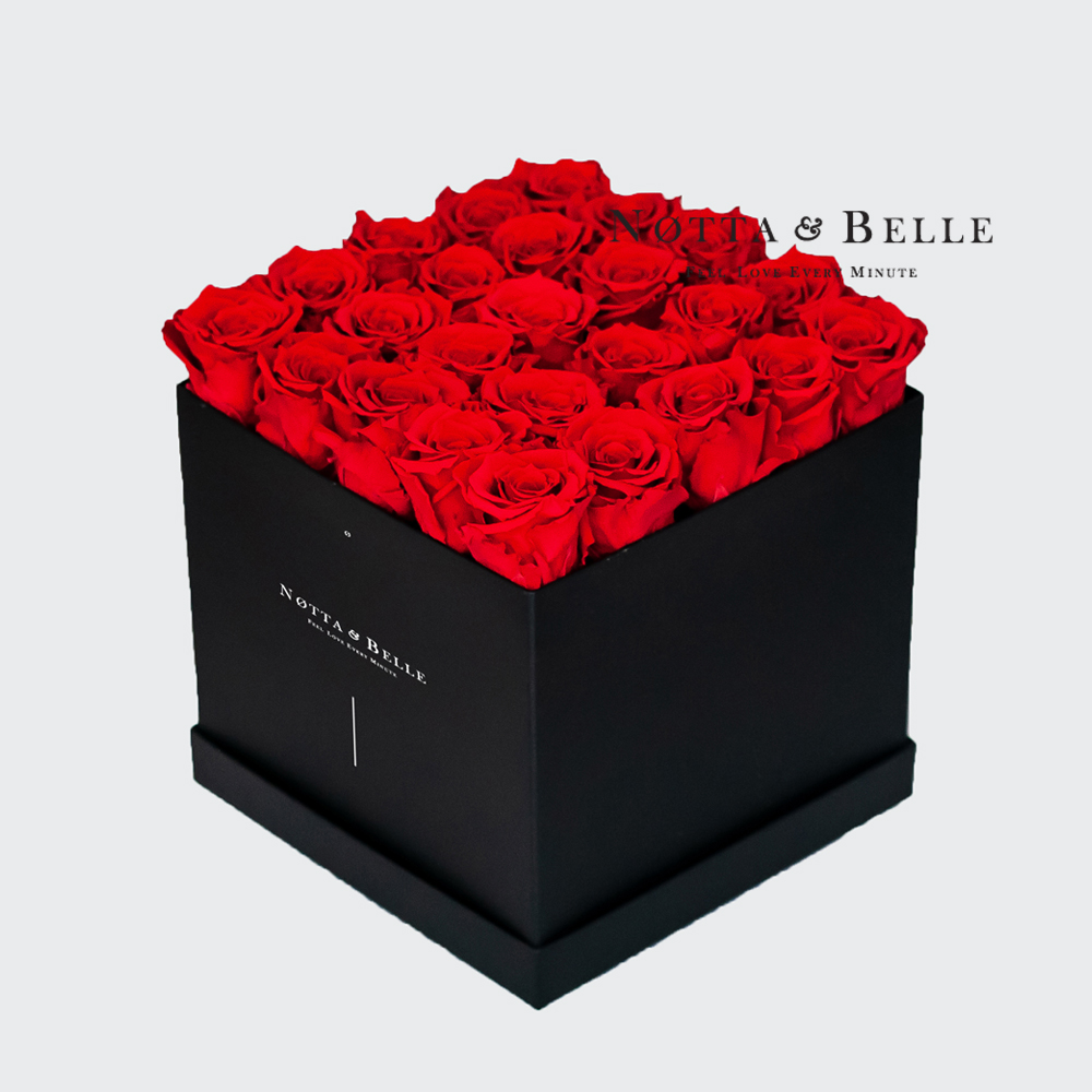 Red roses in square black box - 25 roses