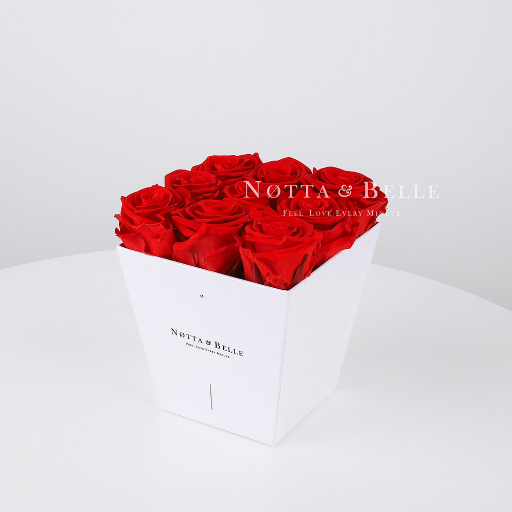 Red roses in a white box - «Forever» - 9 roses