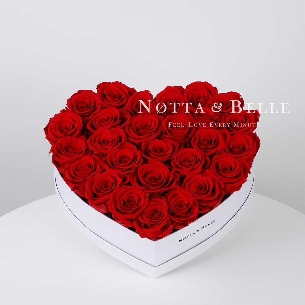 Red roses in a white box - «Love» - 29 roses