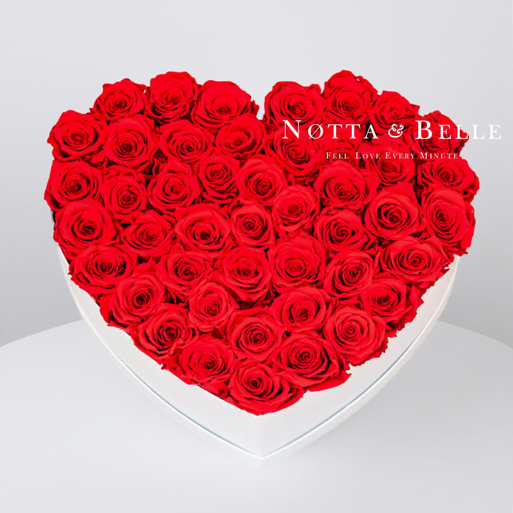 Red roses in a white box - «Love» - 35 roses