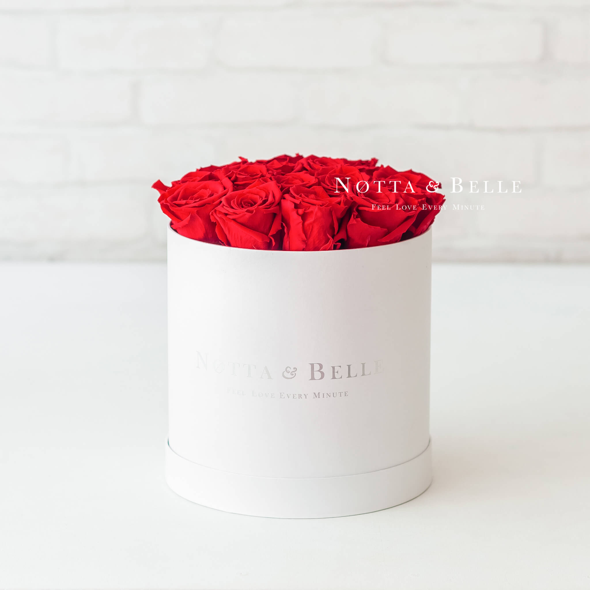 Red roses in a white box - «Princess» - 15 roses
