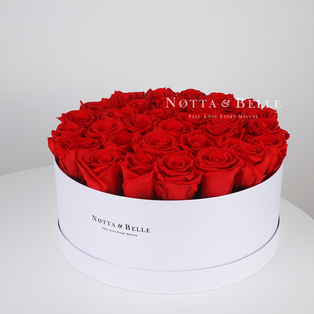 Red roses in a white box - «Princess» - 29 roses