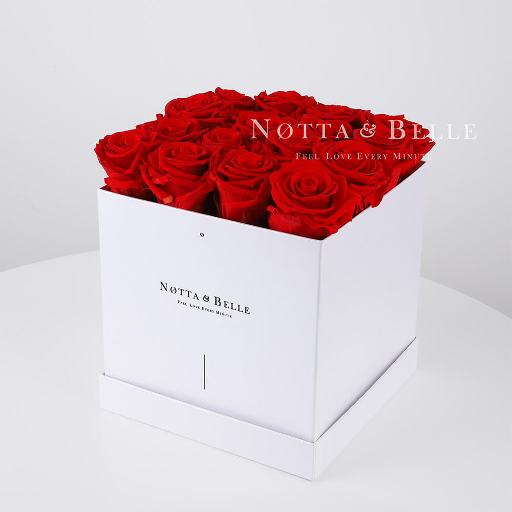 Red roses in a white box - «Romantic» - 17 roses