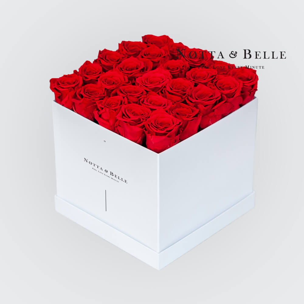 Red roses in a white box - «Romantic» - 25 roses