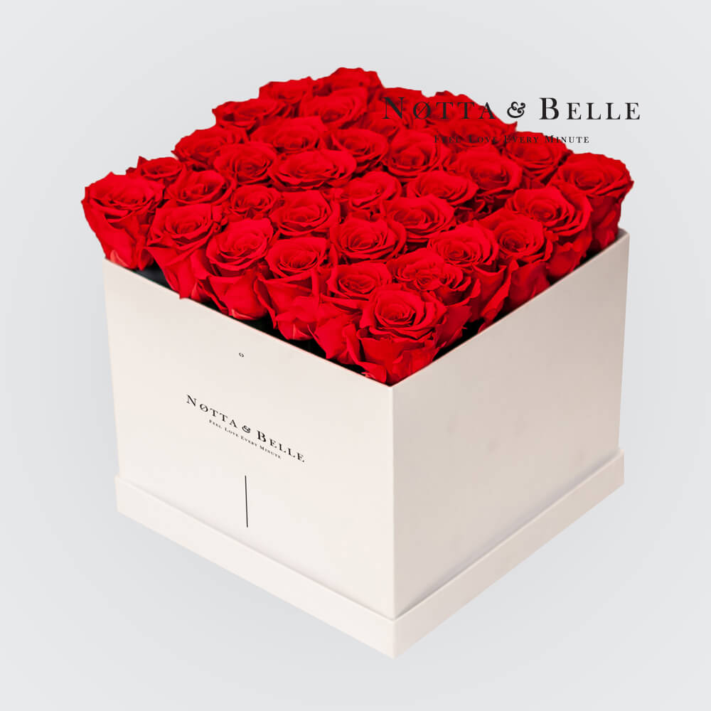 Red roses in a white box - «Romantic» - 35 roses