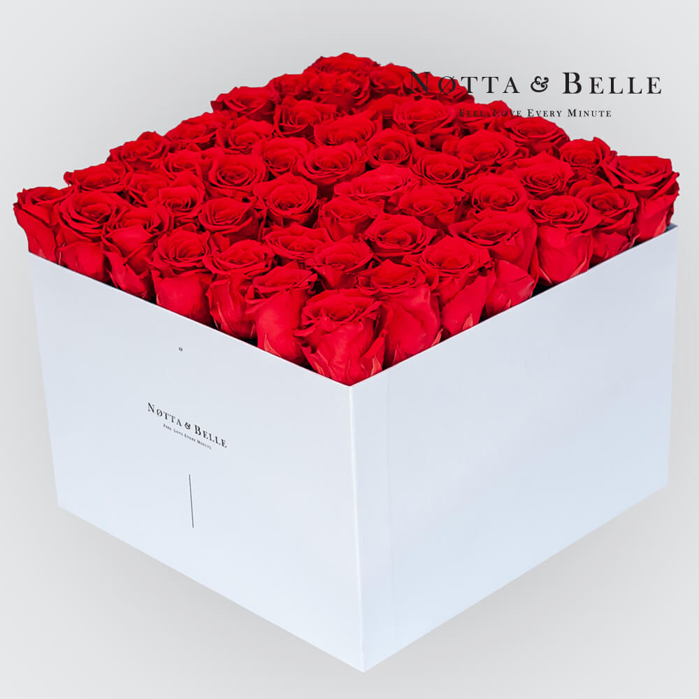 Red roses in a white box - «Romantic» - 49 roses