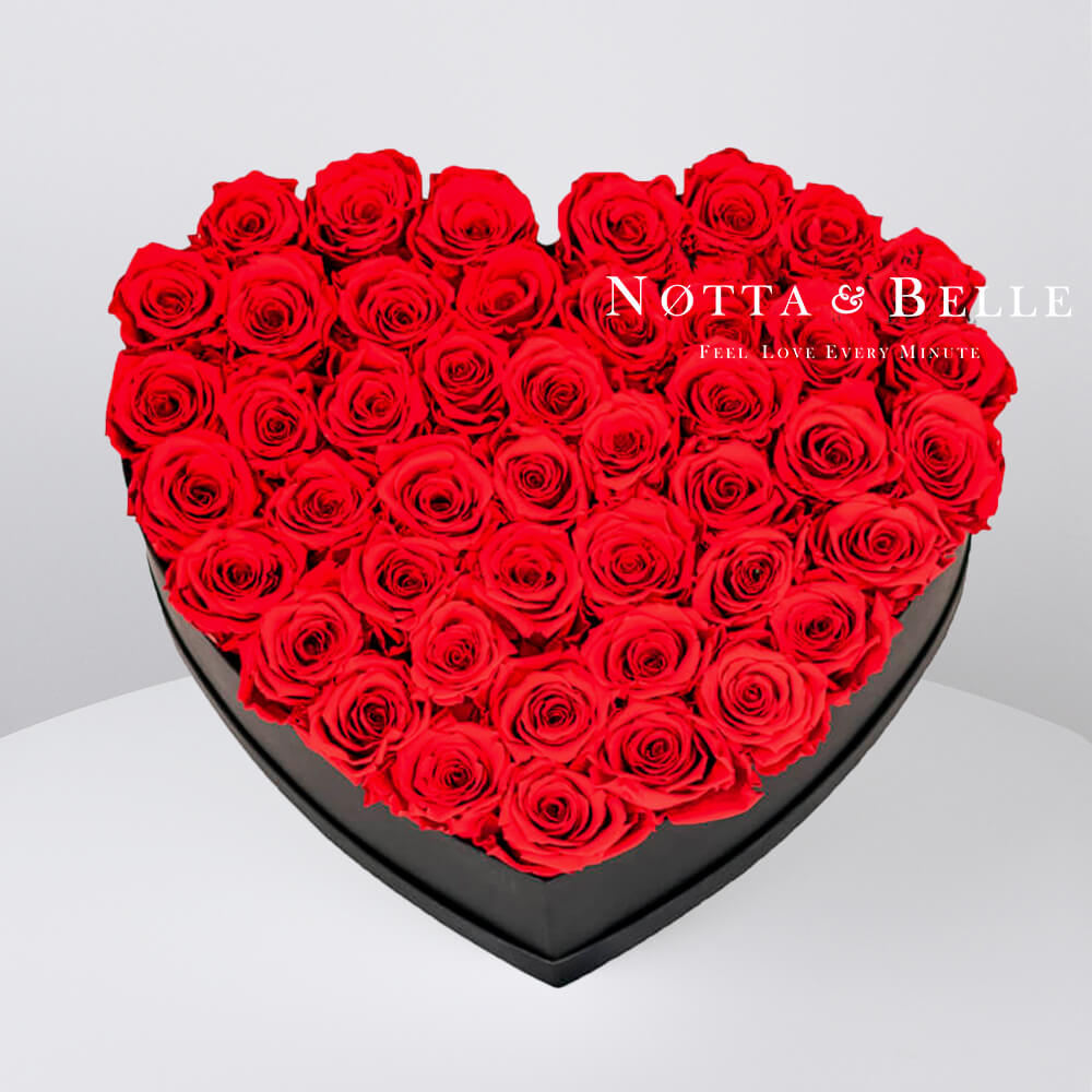 Red roses in heart black box - 35 roses