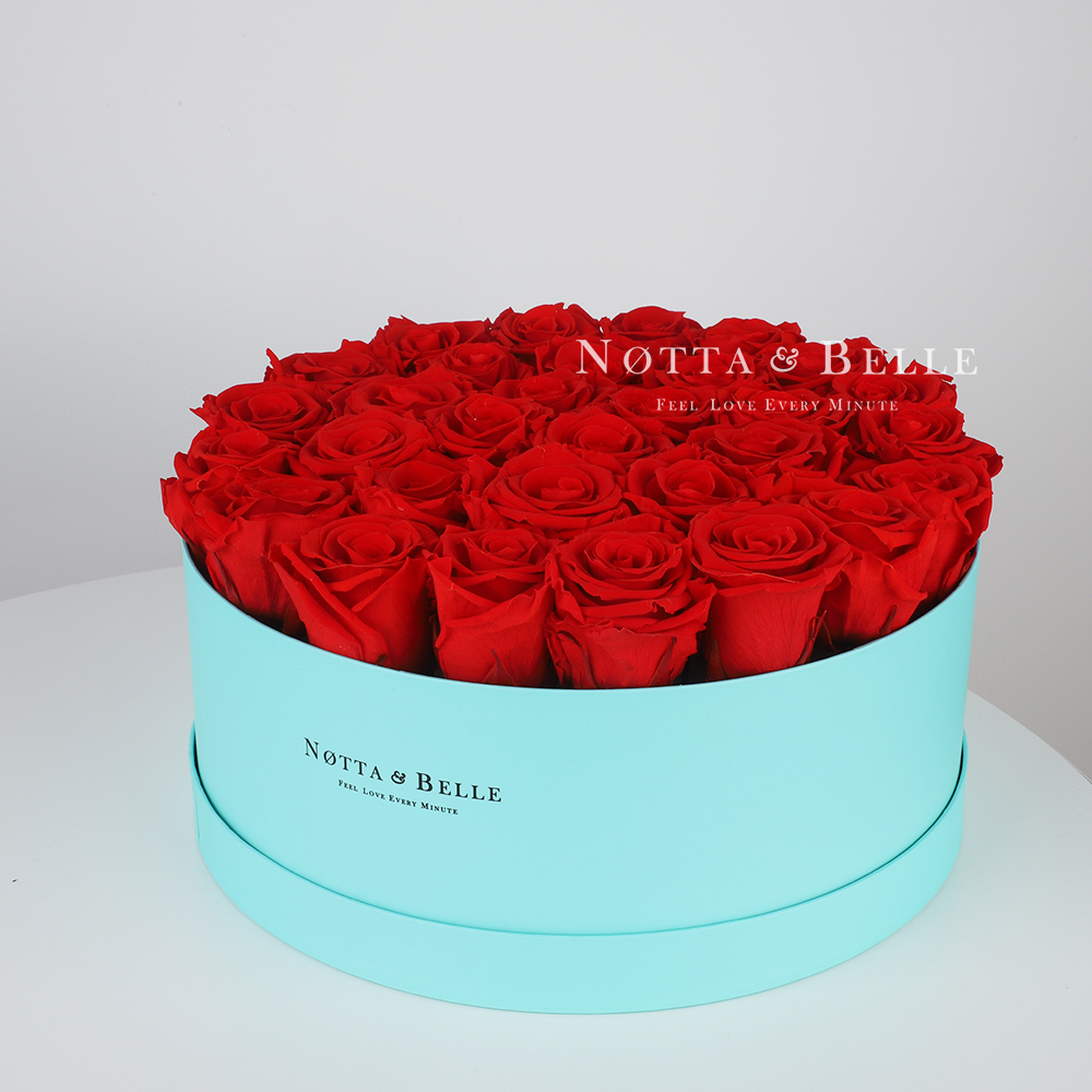 Red roses in round Turquoise box - 29 roses