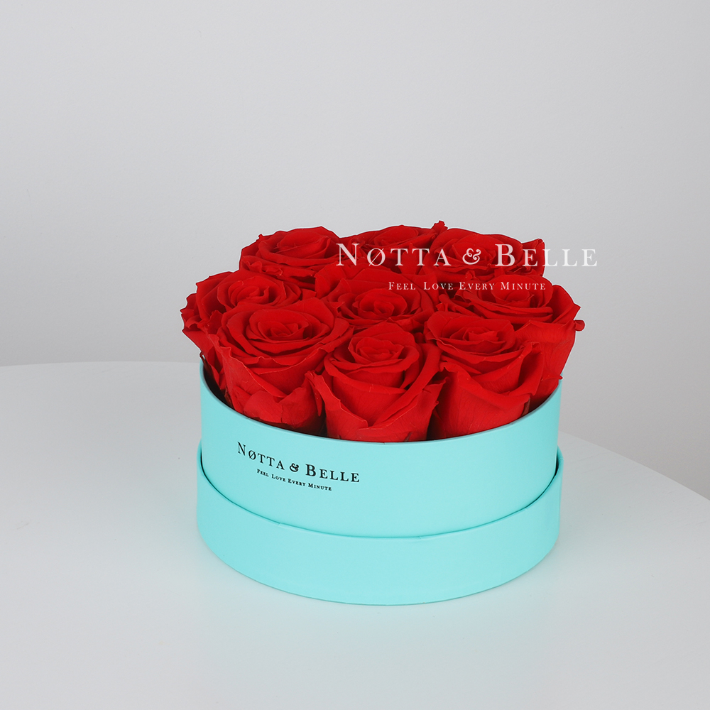 Red roses in round Turquoise box - 9 roses