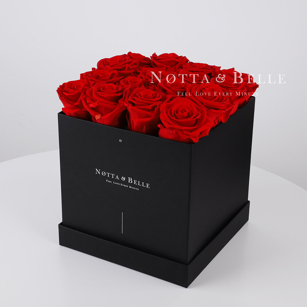 Red roses in square black box - 17 roses