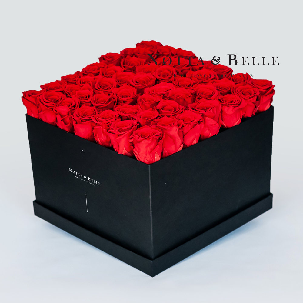 Red roses in square black box - 49 roses