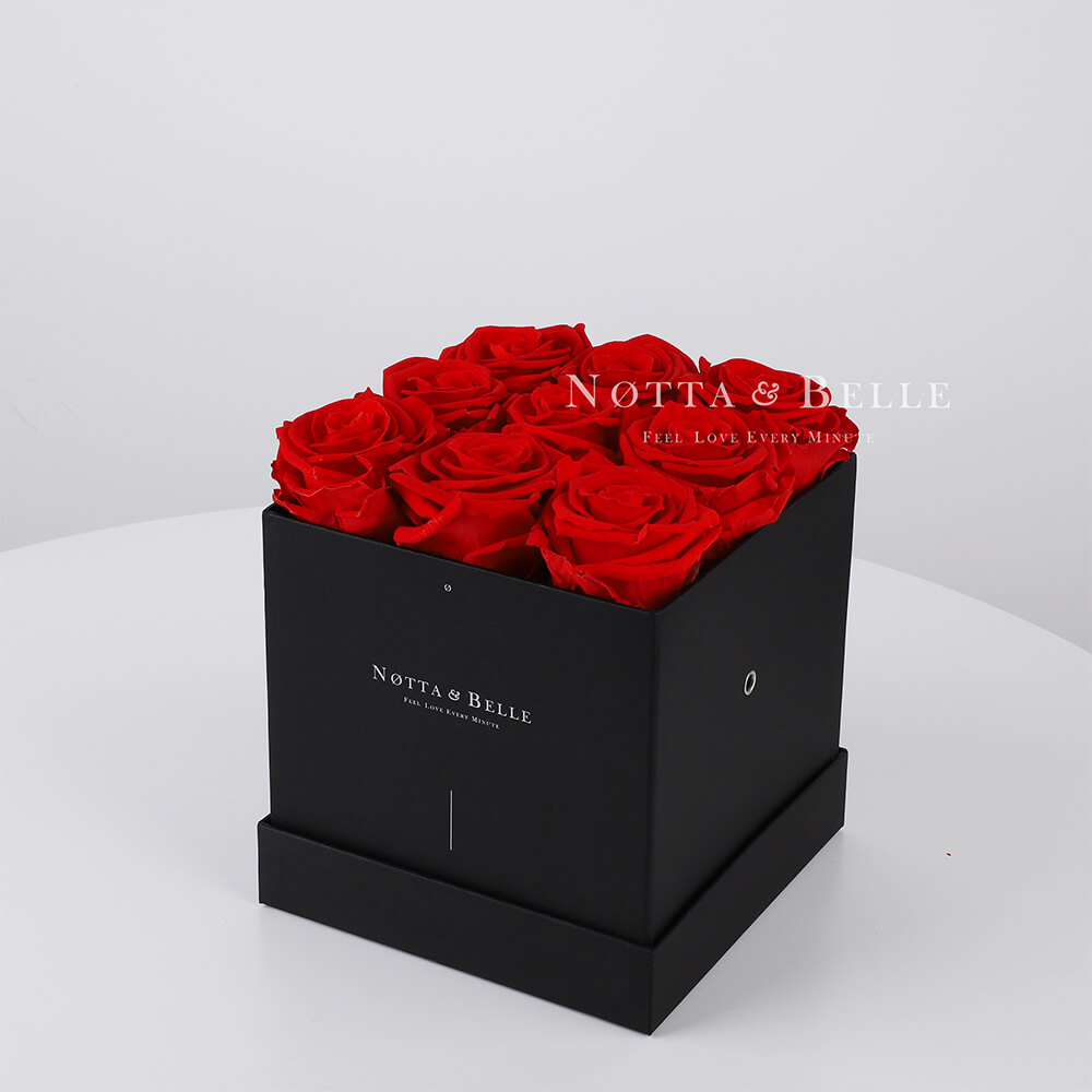 Red roses in square black box - 9 roses