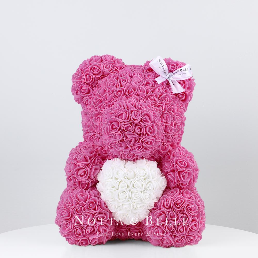 Rosa Bär aus künstlichen Rosen mit einem Herzchen - 35 сm