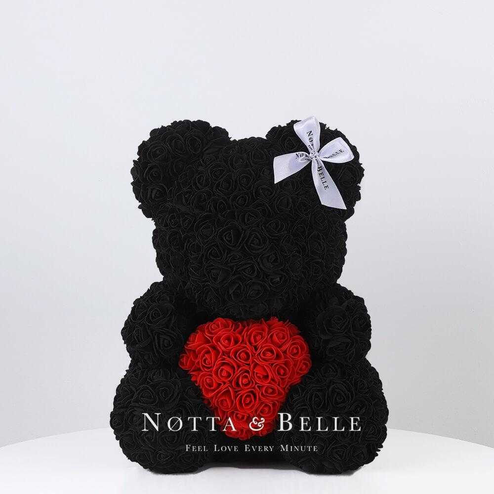 Schwarz Bär aus künstlichen Rosen mit einem Herzchen - 35 сm