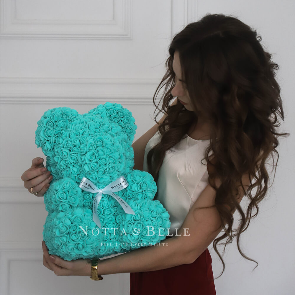 Türkis Bären aus den Rosen - 35 сm
