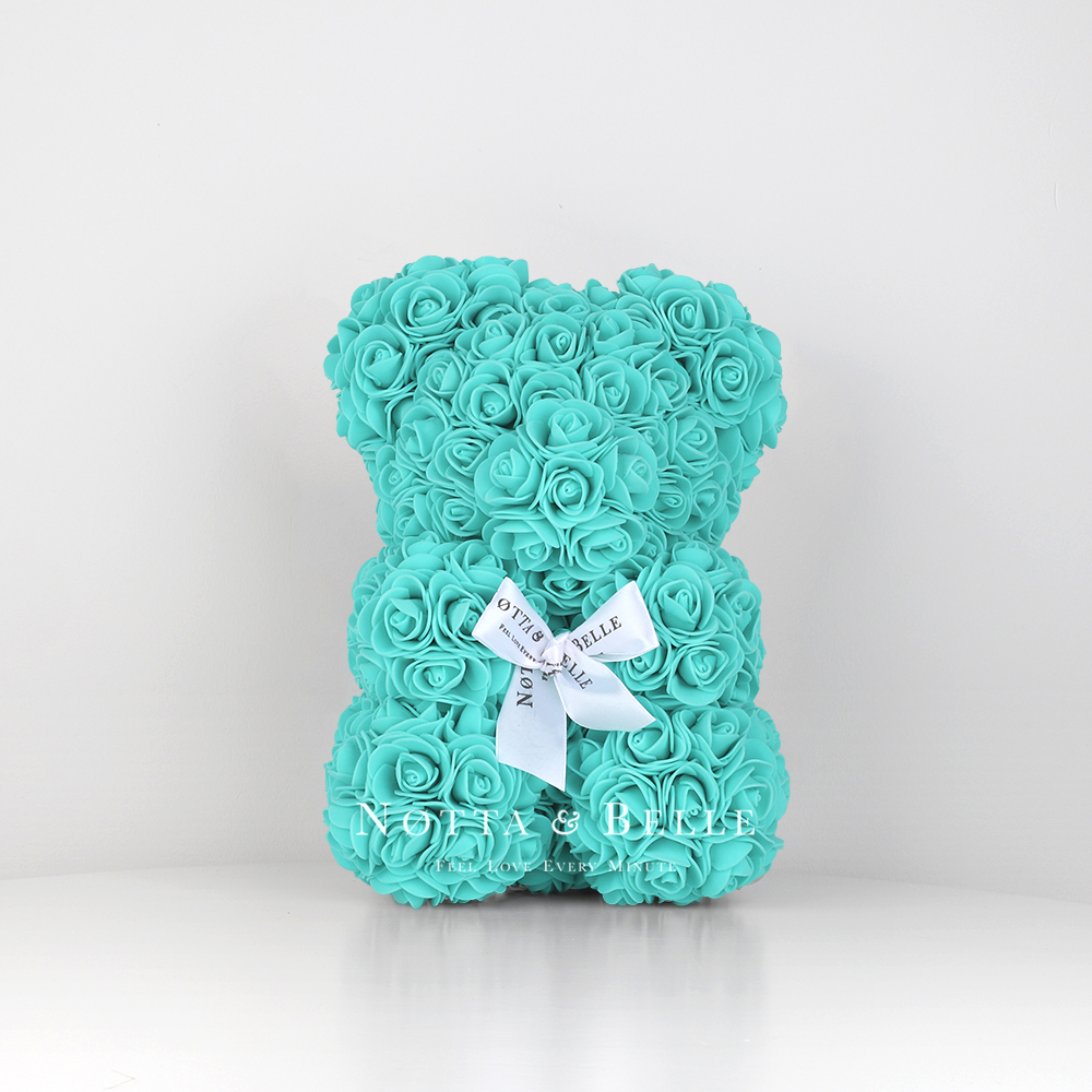 Turquoise Rose Bear - 10 in.