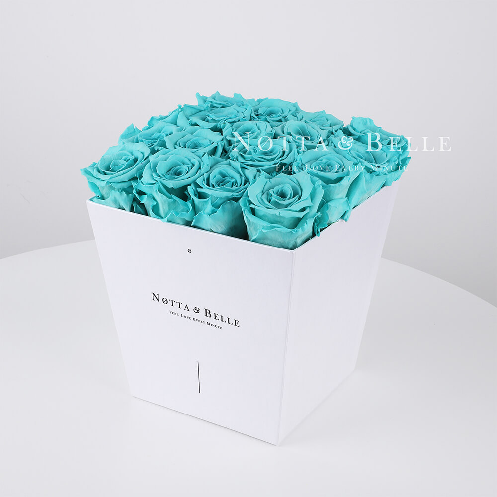 Turquoise roses in a white box - «Forever» - 17 roses
