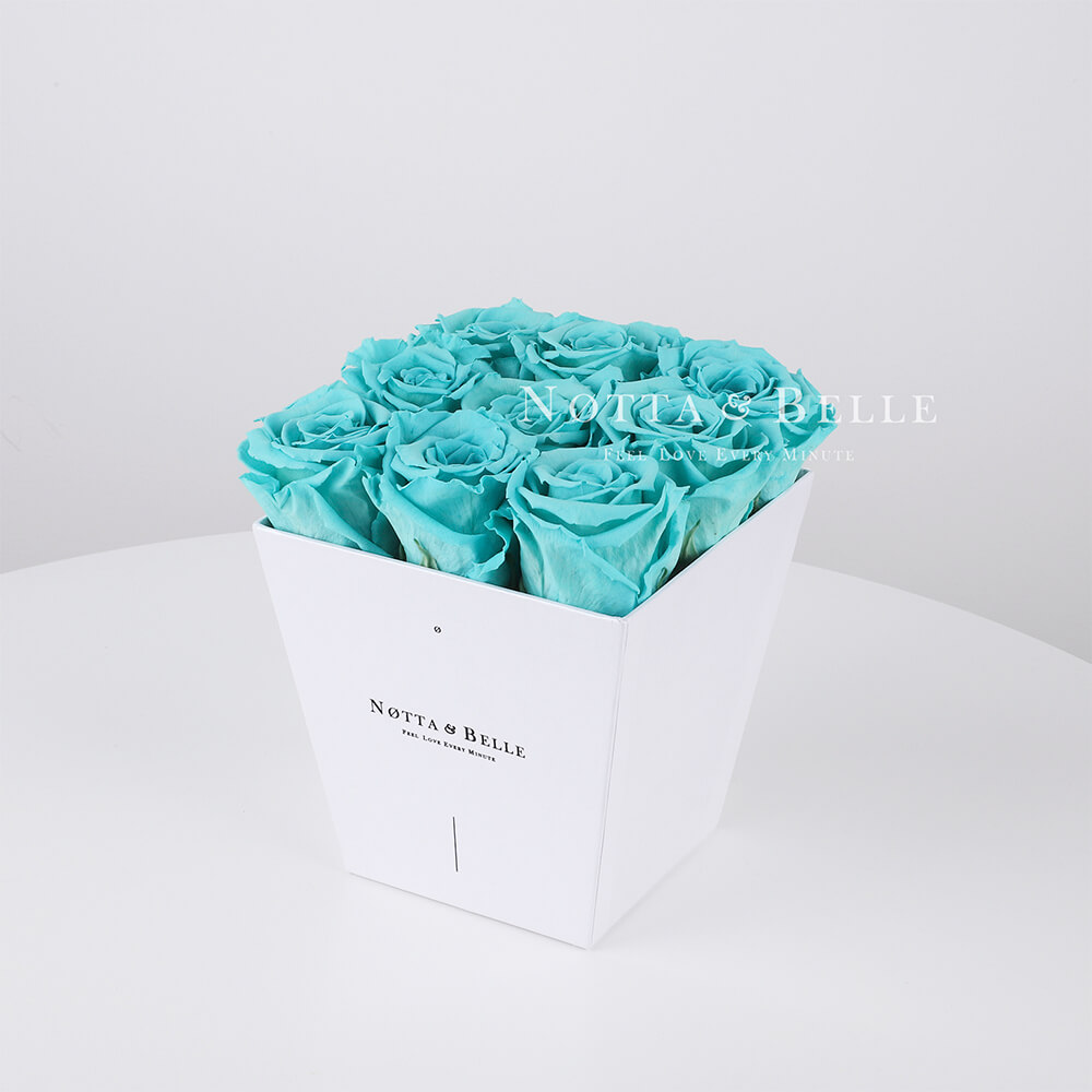 Turquoise roses in a white box - «Forever» - 9 roses
