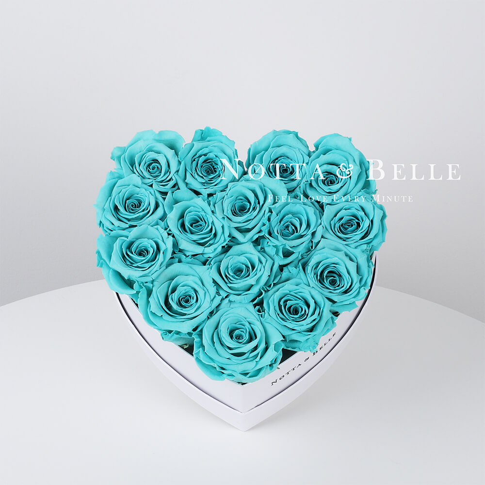 Turquoise roses in a white box - «Love» - 15 roses