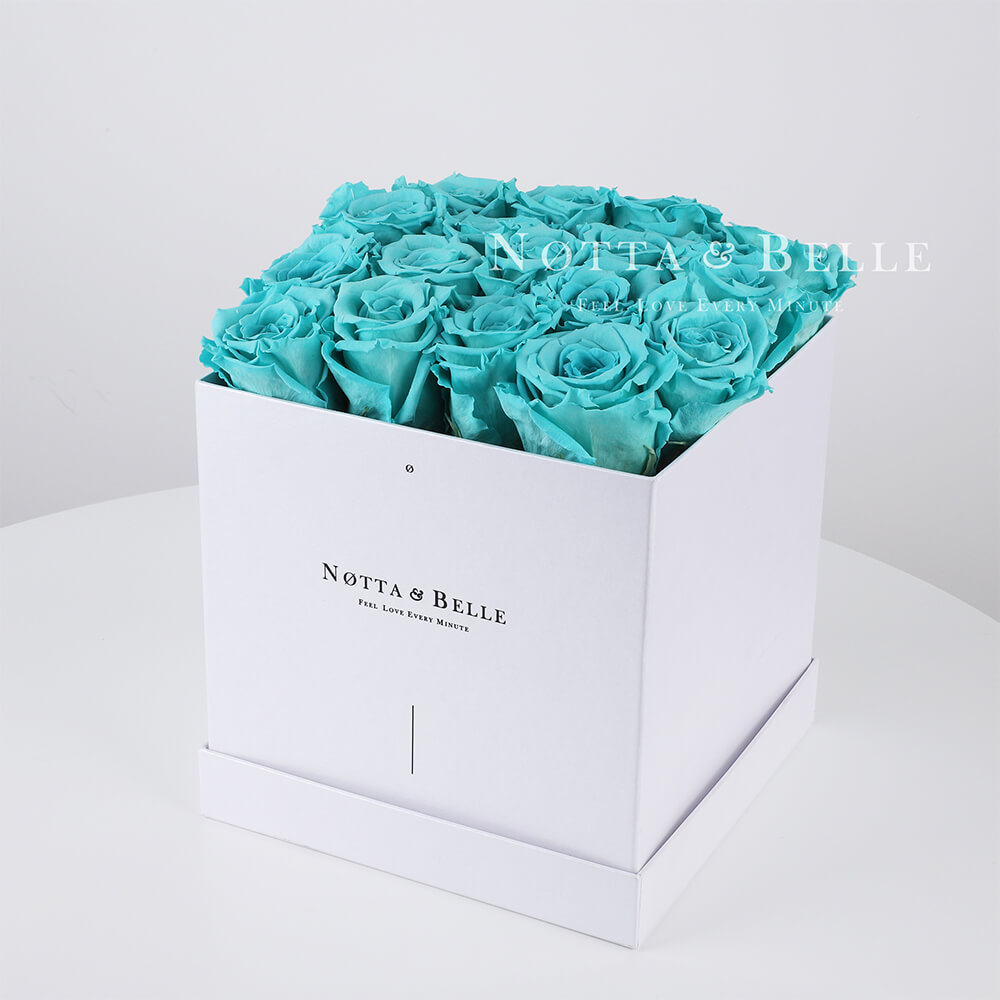 Turquoise roses in a white box - «Romantic» - 17 roses