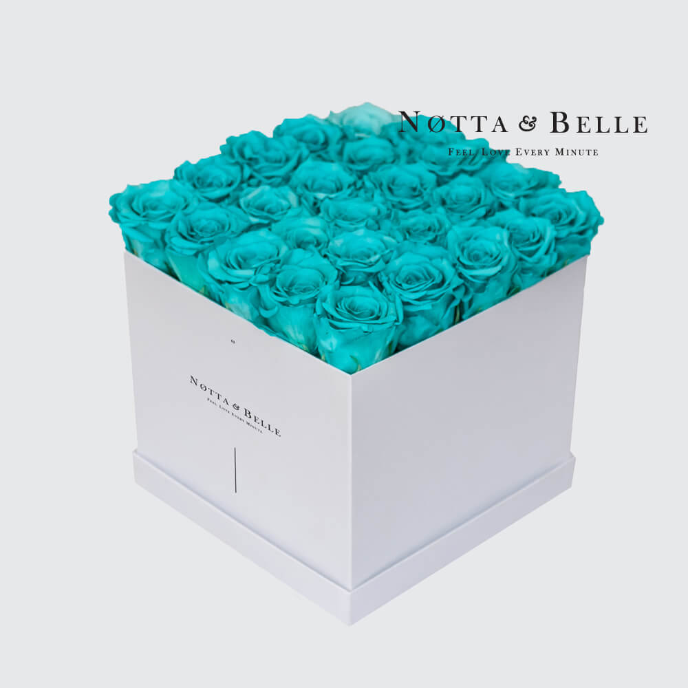 Turquoise roses in a white box - «Romantic» - 25 roses
