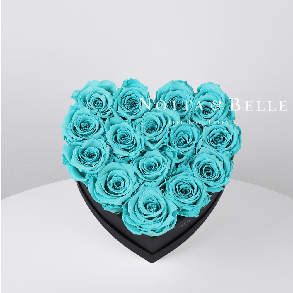 Turquoise roses in heart black box - 15 roses