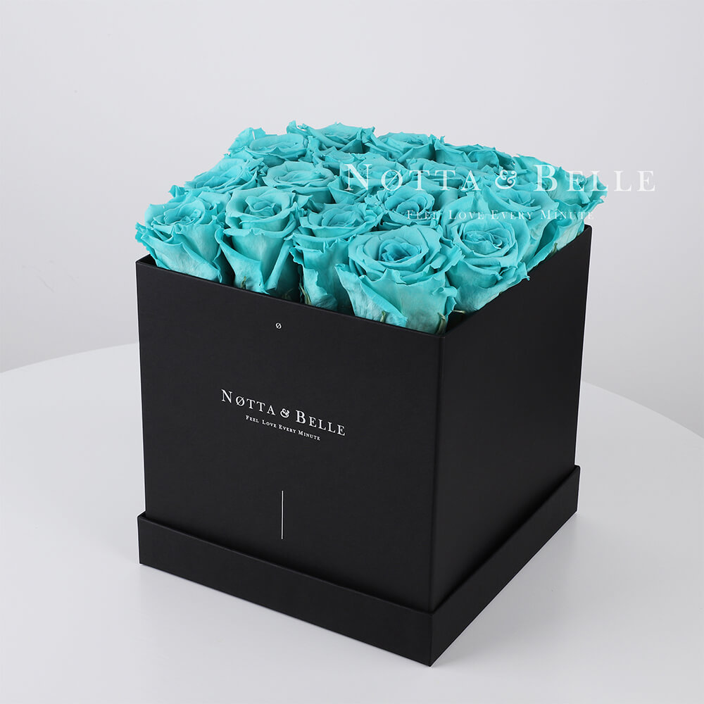 Turquoise roses in square black box - 17 roses
