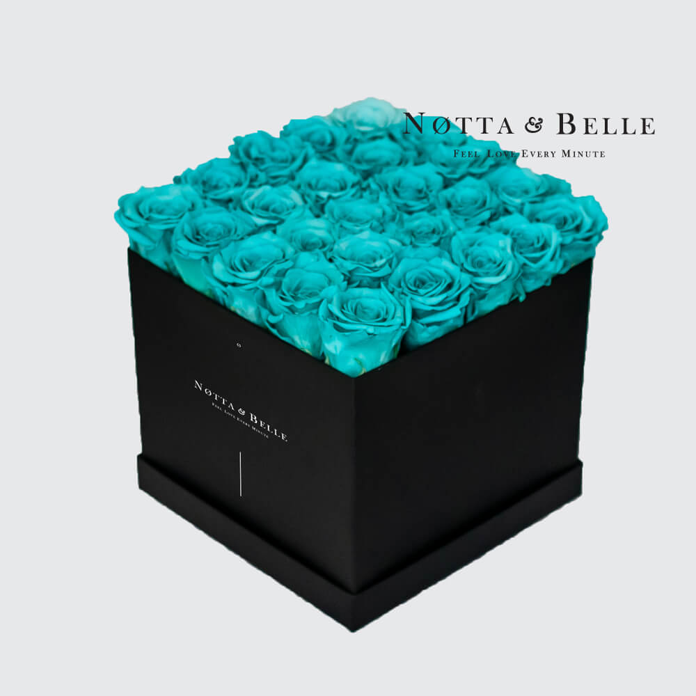 Turquoise roses in square black box - 25 roses