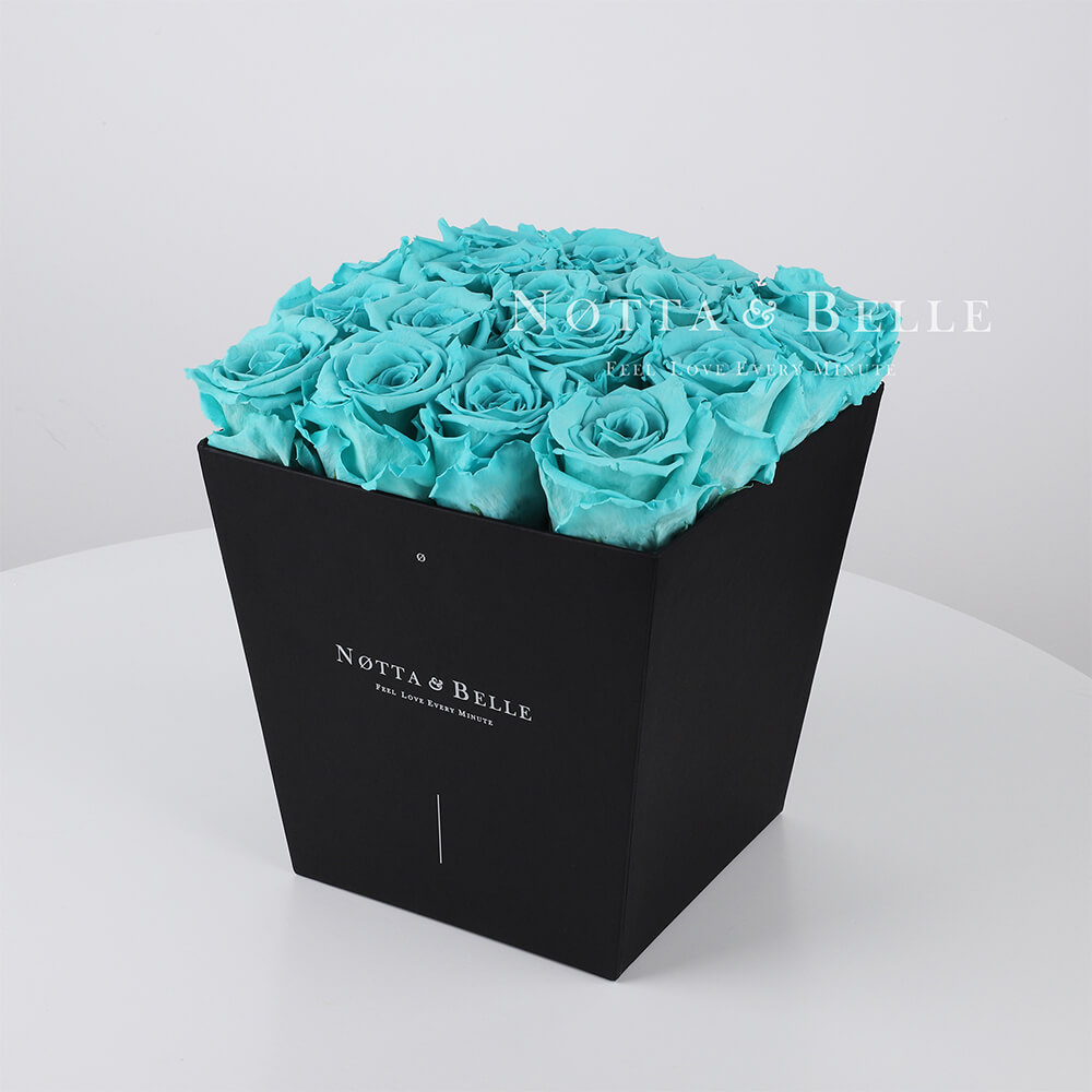 Turquoise roses in trapezoid black box - 17 roses
