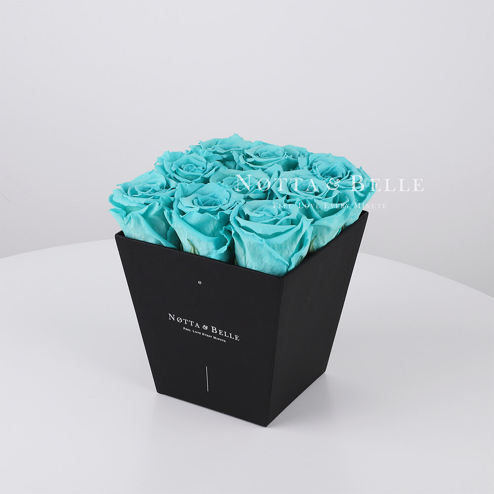 Turquoise roses in trapezoid black box - 9 roses