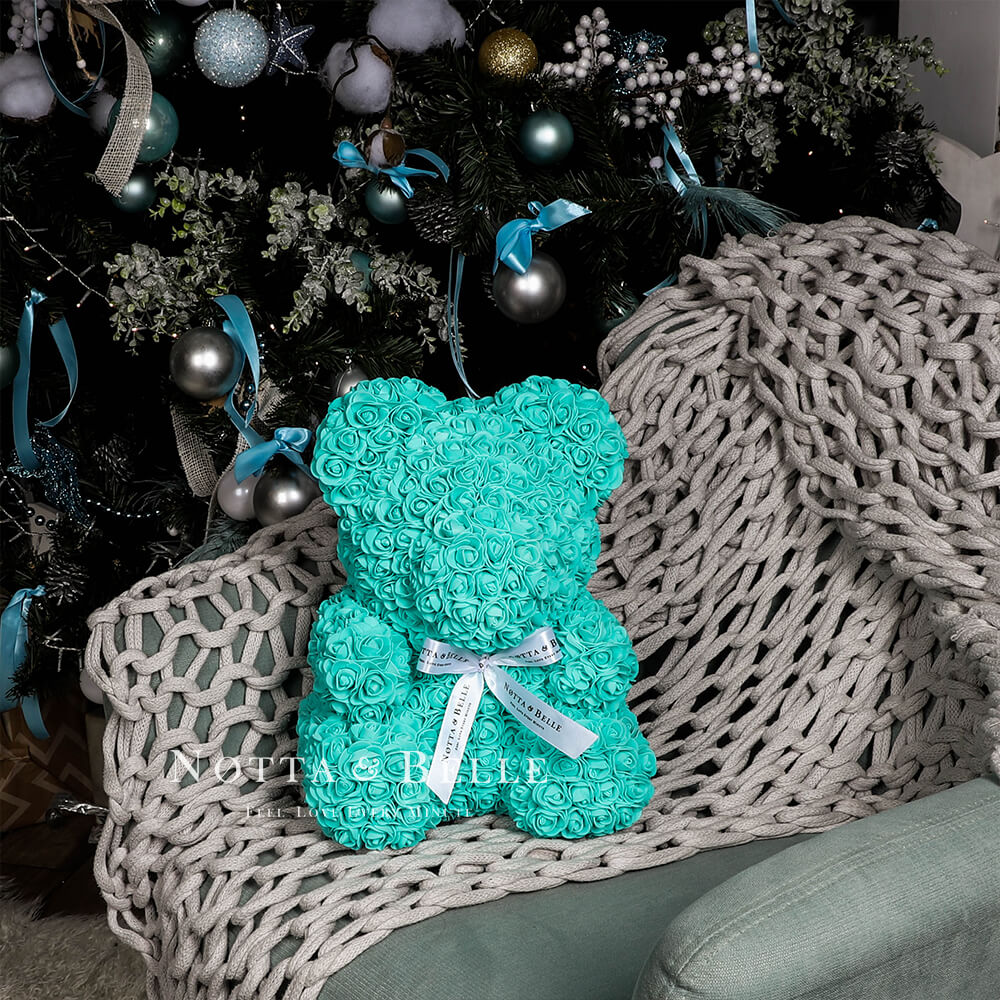Turquoise Rose Bear - 14 in.