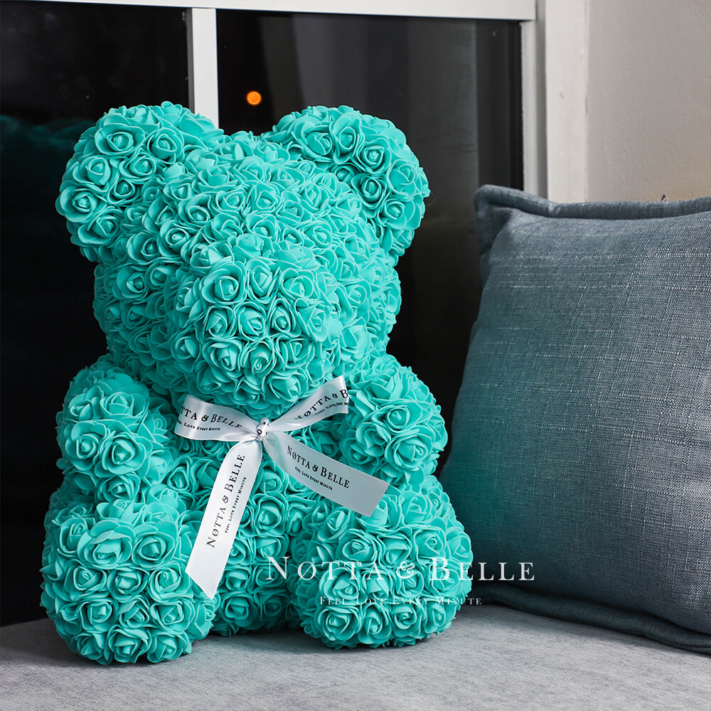 Turquoise teddy bear from roses - 14 in.