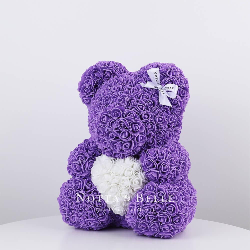 Violett Bär aus künstlichen Rosen mit einem Herzchen - 35 сm