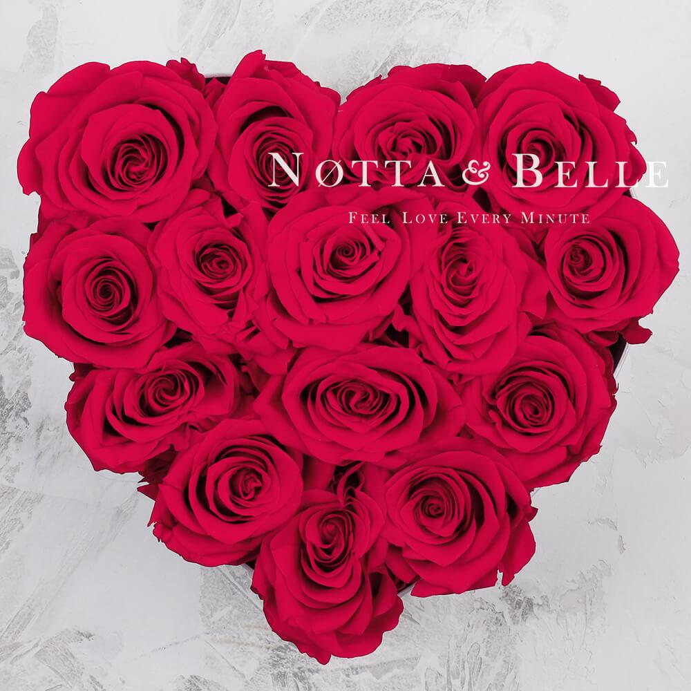 Mazzo colore rosa acceso «Love» in una scatola nera - 15 pz.