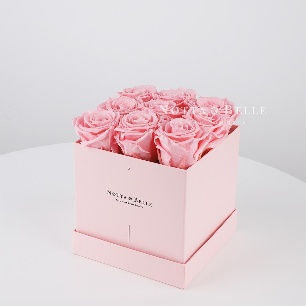 Долговечный букет из 9 розовых роз - №325