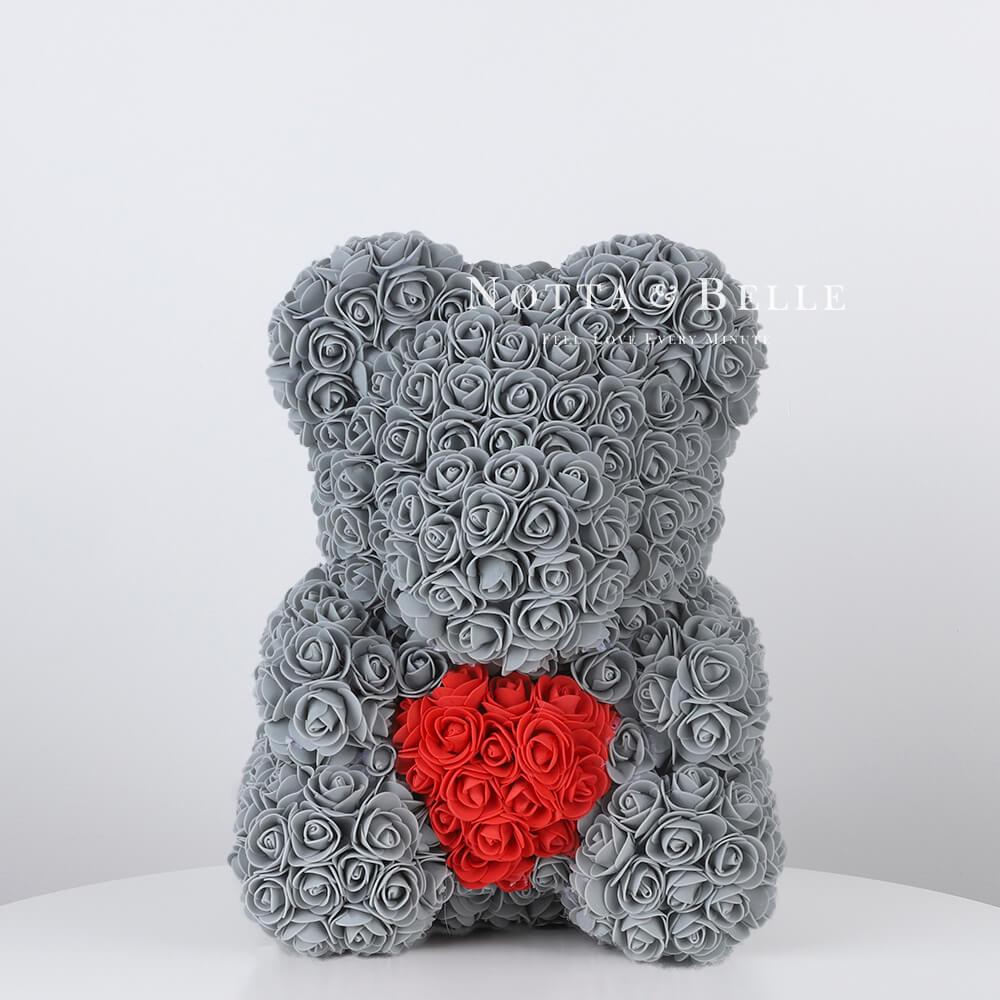 Серый мишка из роз c красным сердцем - 35 см (Китай)