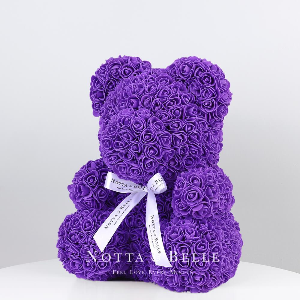 Фиолетовый мишка из роз - 35 см
