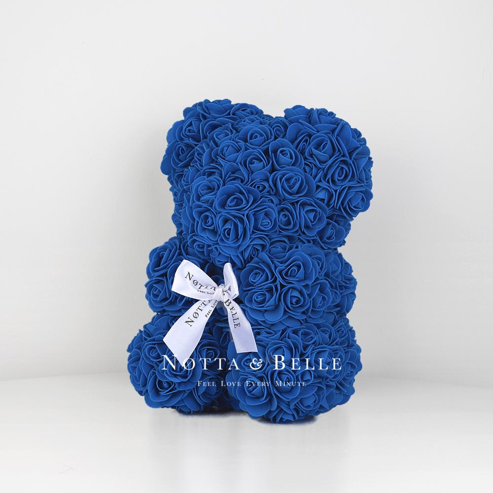 Синий мишка из роз - 25 см