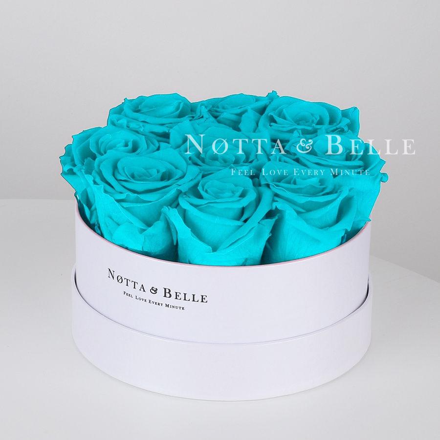 Долговечный букет из 9 роз цвета тиффани - №1051