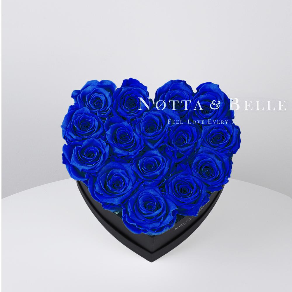 Modrá kytice «Love» v černé krabičce - 15 ks
