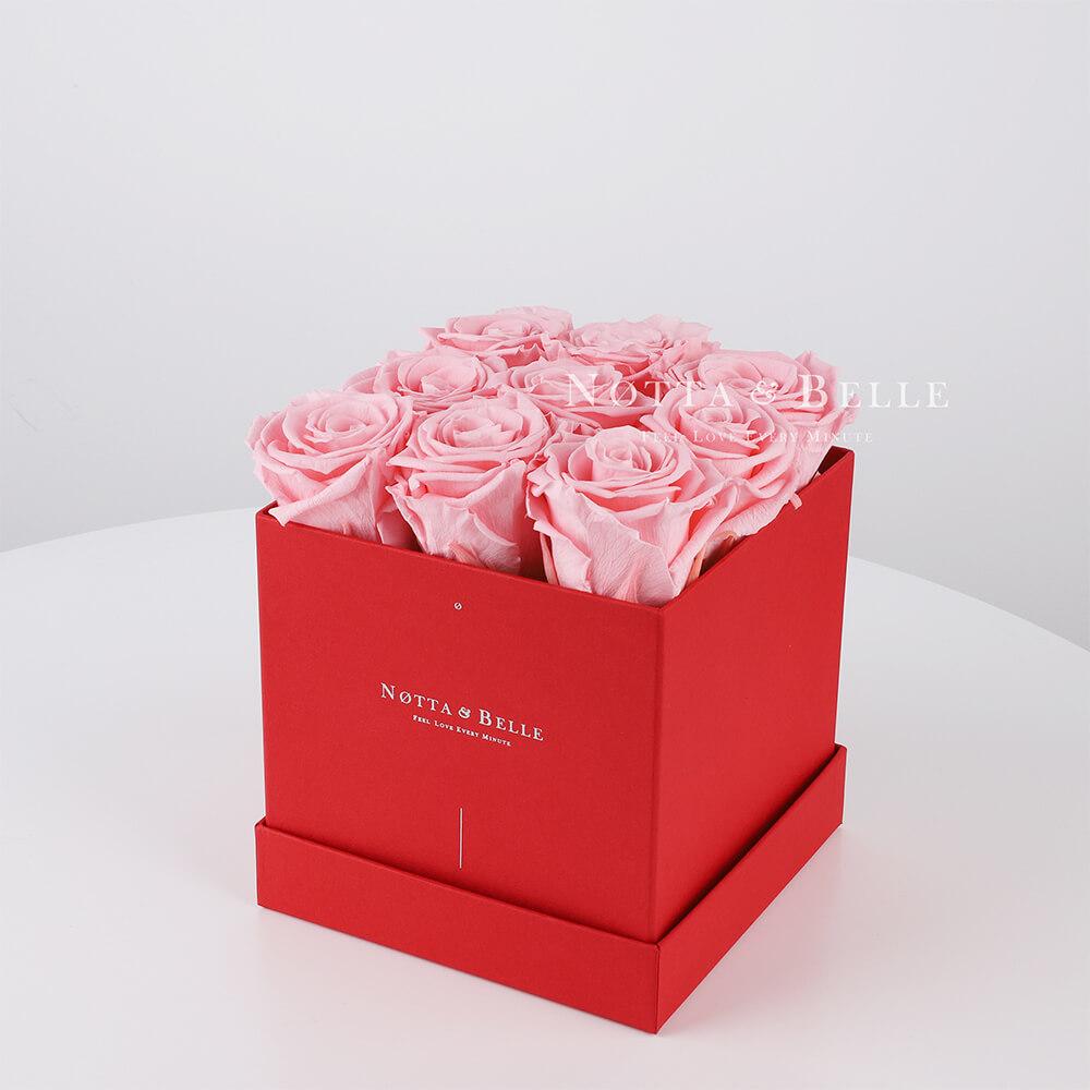 Долговечный букет из 9 розовых роз - №324