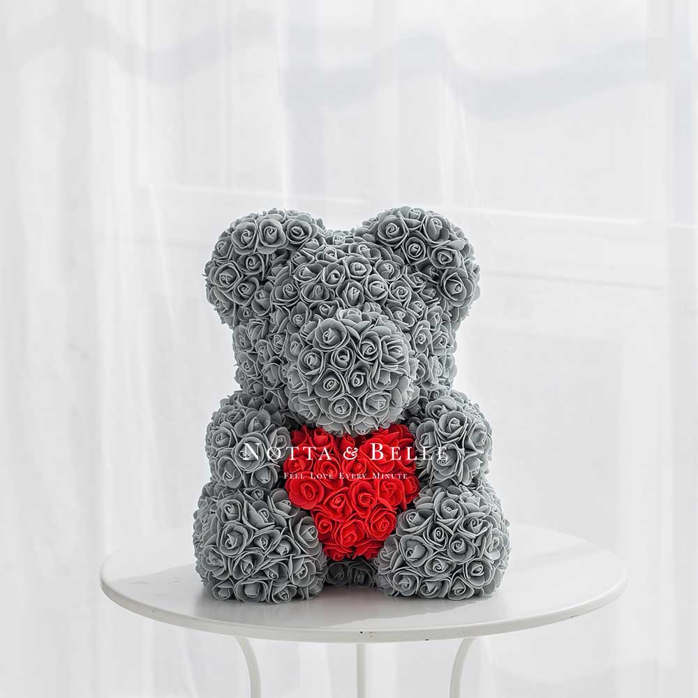 Grey Bears with a heart from roses- 40 сm