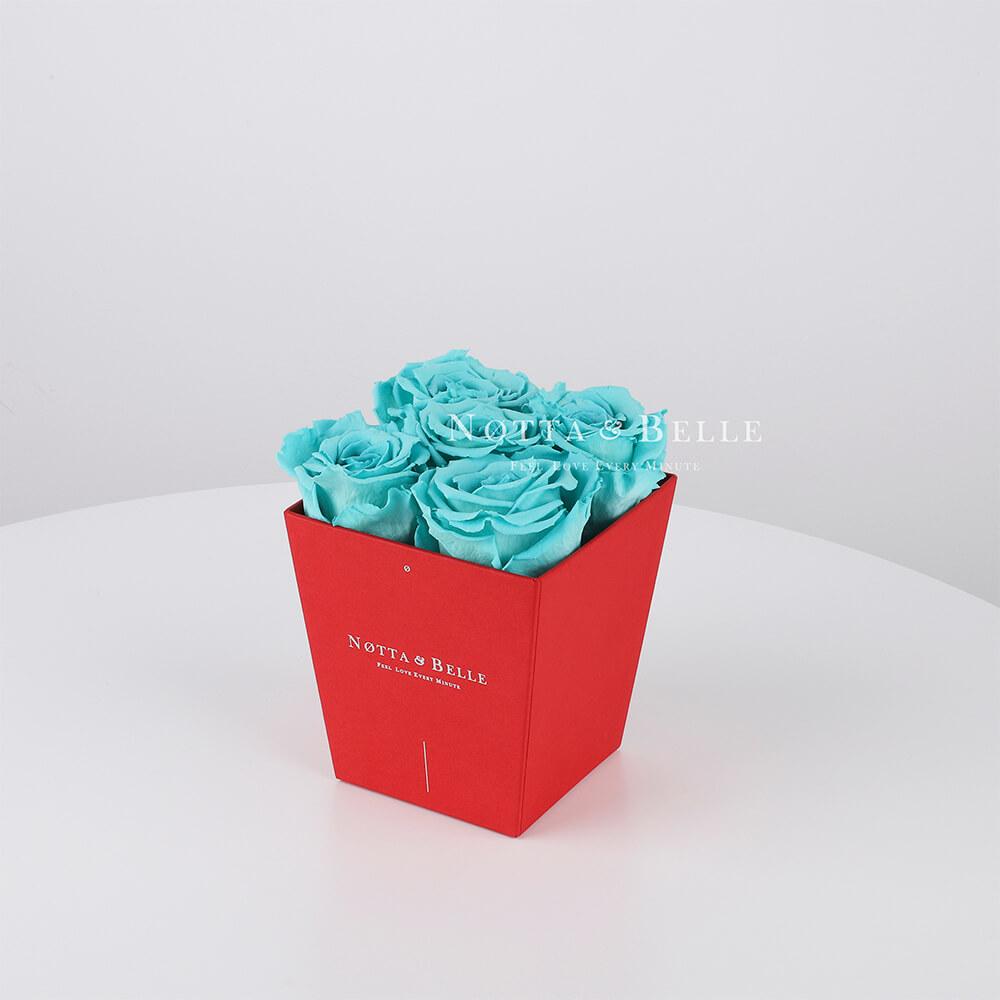 Долговечный букет из 5 бирюзовых роз - №044