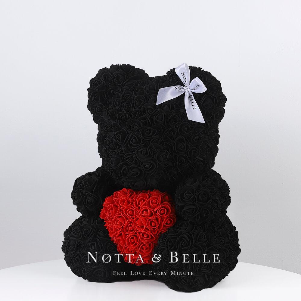 Чёрный мишка из роз с красным сердцем - 35 см