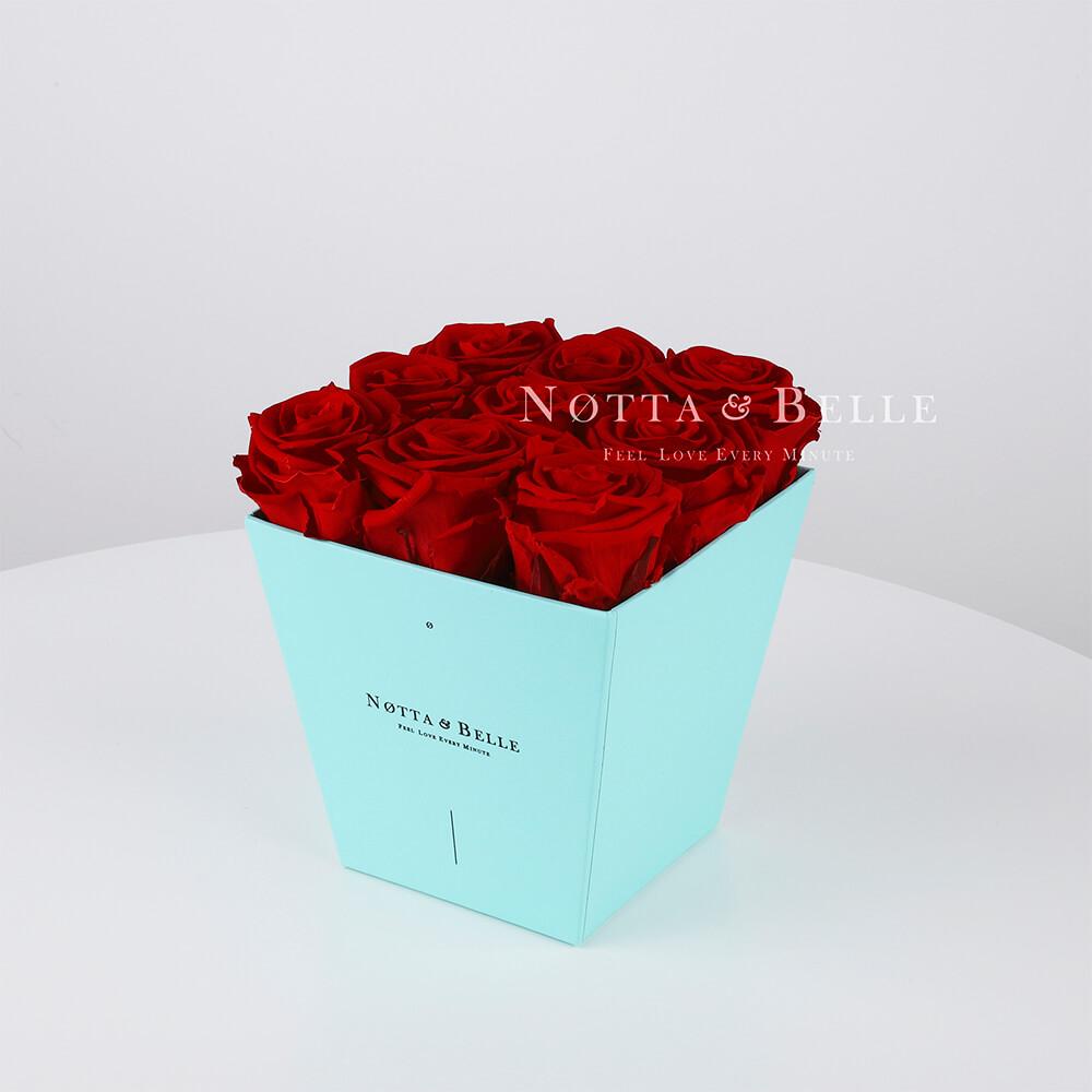 Долговечный букет из 9 бордовых роз - №163