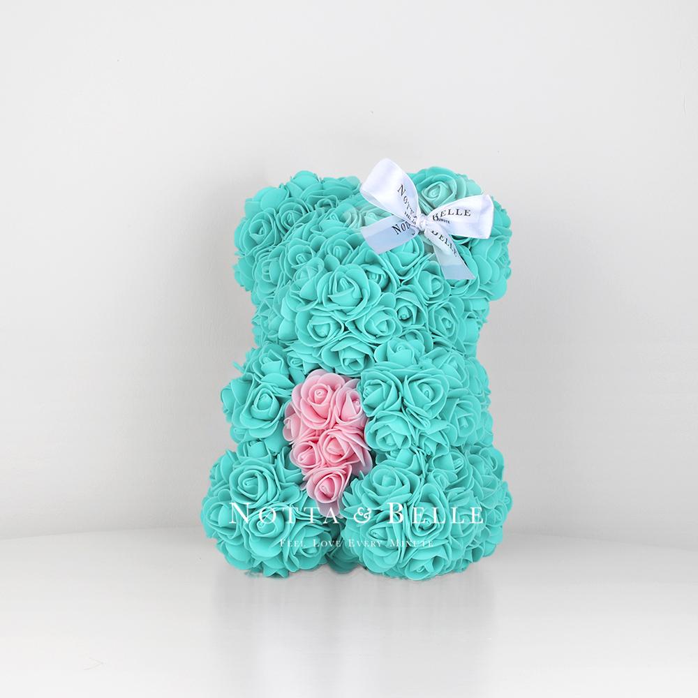 Бирюзовый мишка из роз с сердцем - 25 см