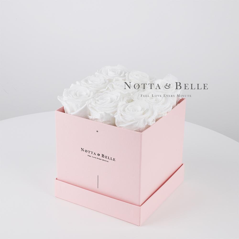 Долговечный букет из 9 белых роз - №385