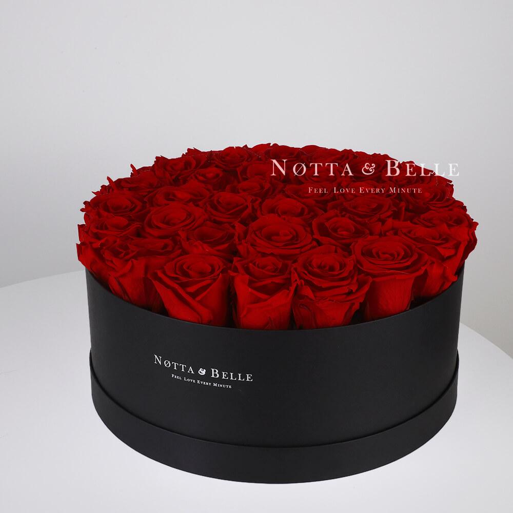 Долговечный букет из 29 бордовых роз - №1232