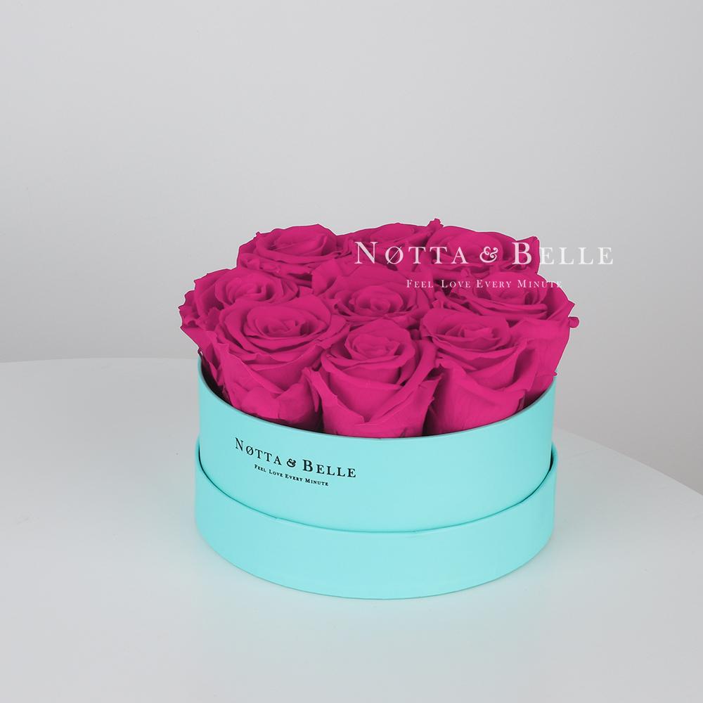 Долговечный букет из 9 роз цвета фуксии - №1023
