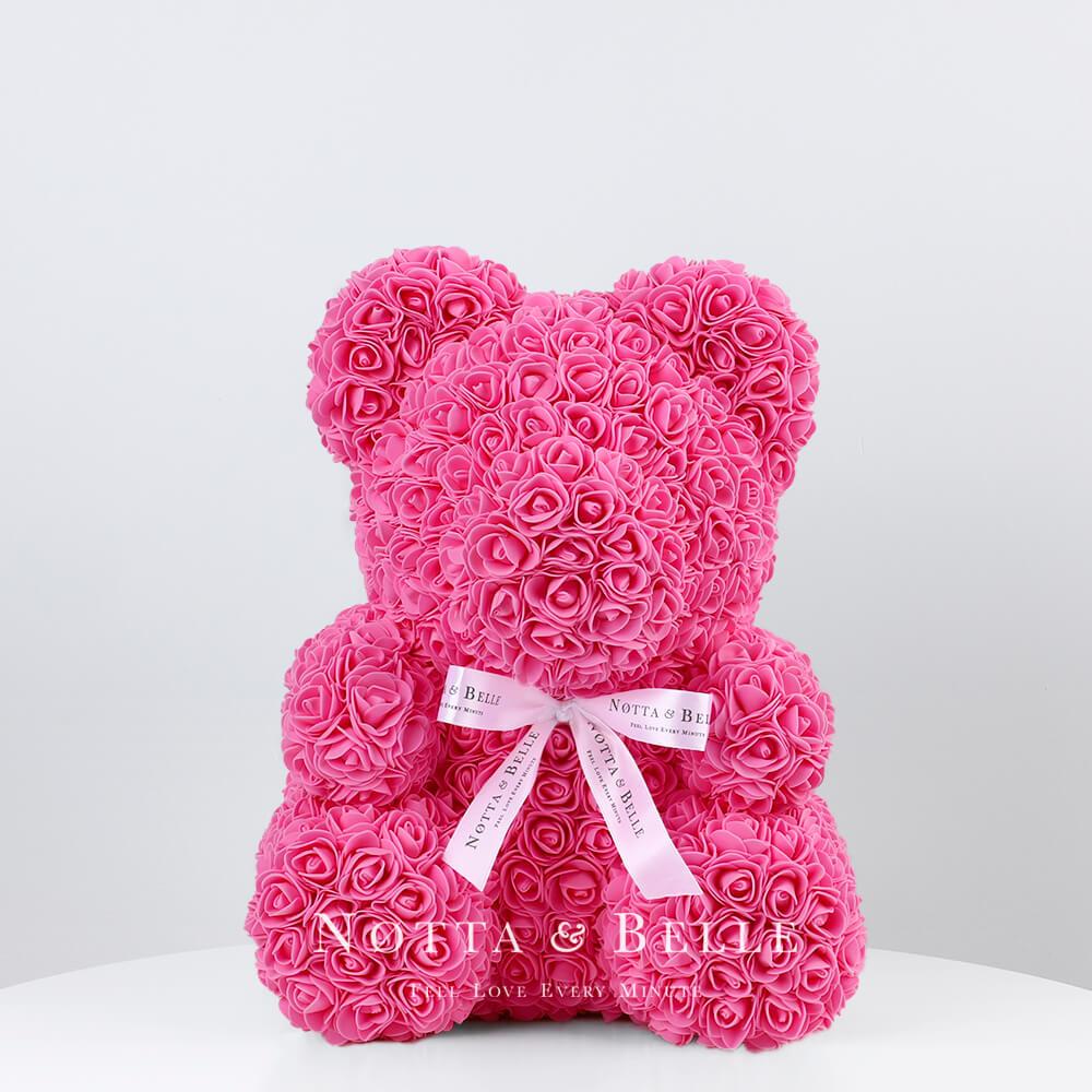 Розовый мишка из роз - 35 см